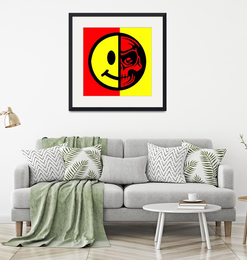"""""""Smiley Face Skull Yellow Red""""  (2018) by RubinoFineArt"""