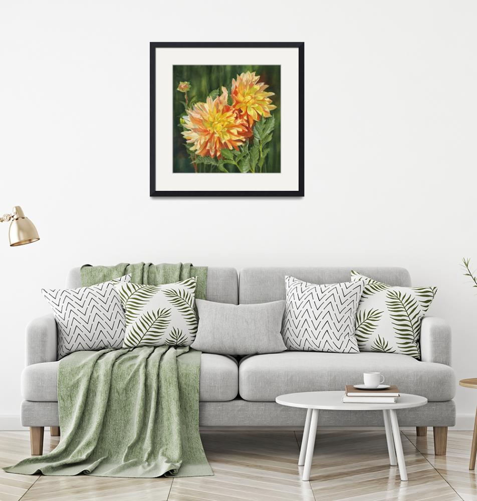 """""""Yellow and Orange Dahlias with Dark Background"""" (2018) by Pacific-NW-Watercolors"""