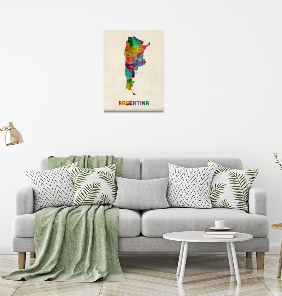 """Argentina Watercolor Map""  by ModernArtPrints"