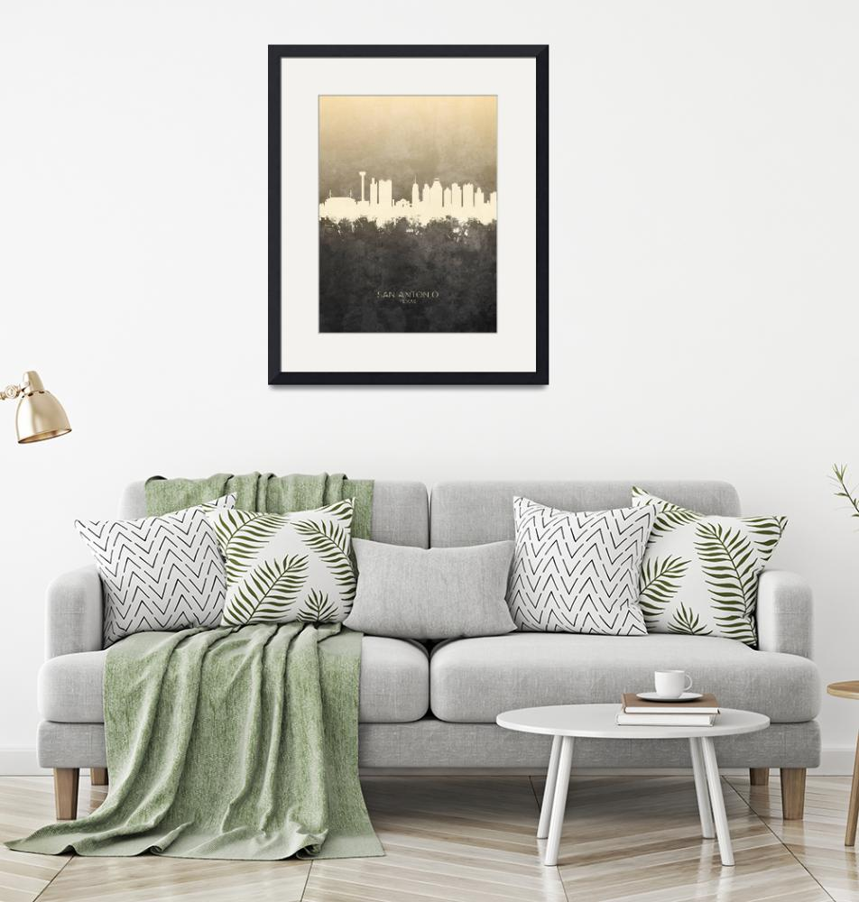 """San Antonio Texas Skyline""  (2019) by ModernArtPrints"