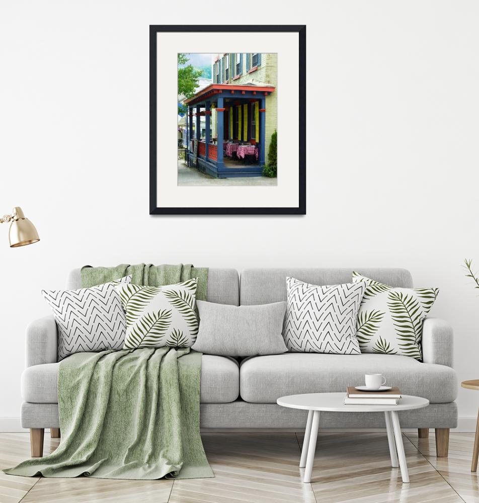 """""""Outdoor Cafe with Checkered Tablecloths""""  by susansartgallery"""
