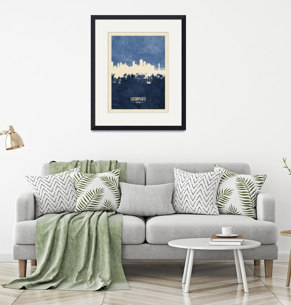 """Sacramento California Skyline""  (2019) by ModernArtPrints"