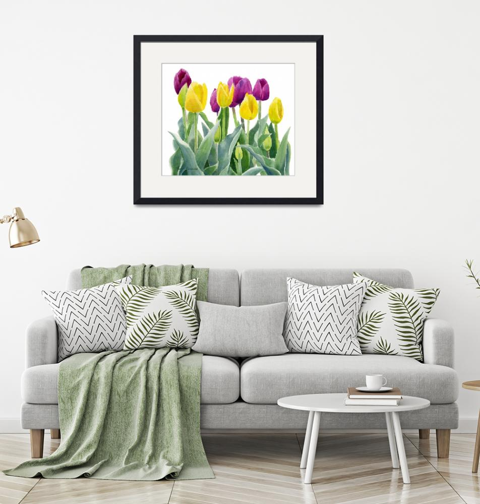 """Yellow and Red Violet Tulips horizontal design""  (2015) by Pacific-NW-Watercolors"