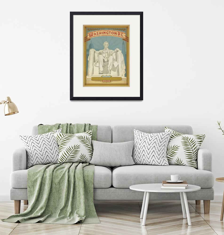 """""""Lincoln Monument Retro Travel Poster""""  by artlicensing"""