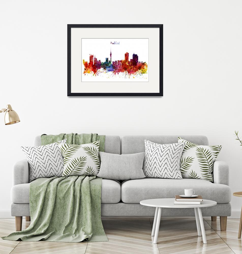 """""""Auckland Watercolor Skyline""""  (2015) by MarianVoicu"""