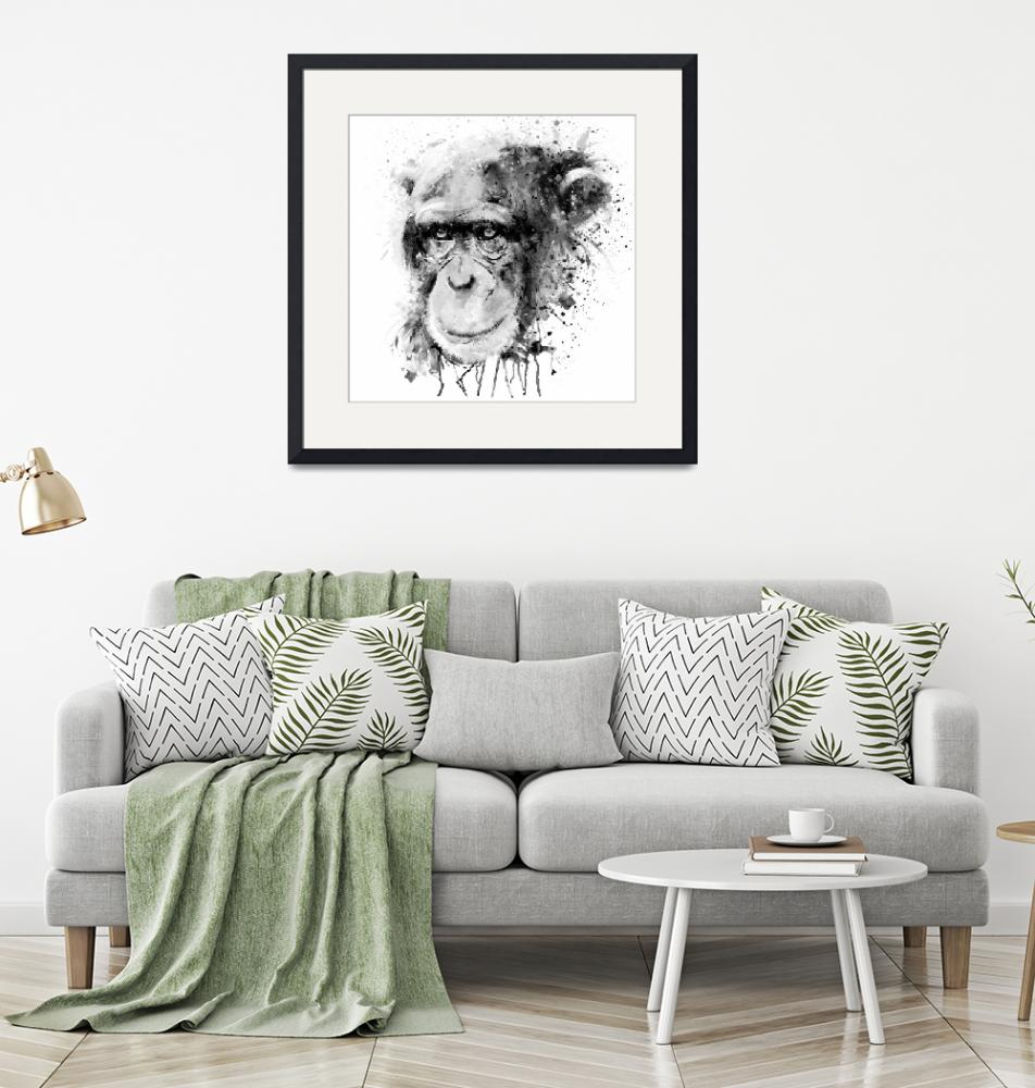 """""""Watercolor Chimpanzee Black and White""""  (2019) by MarianVoicu"""