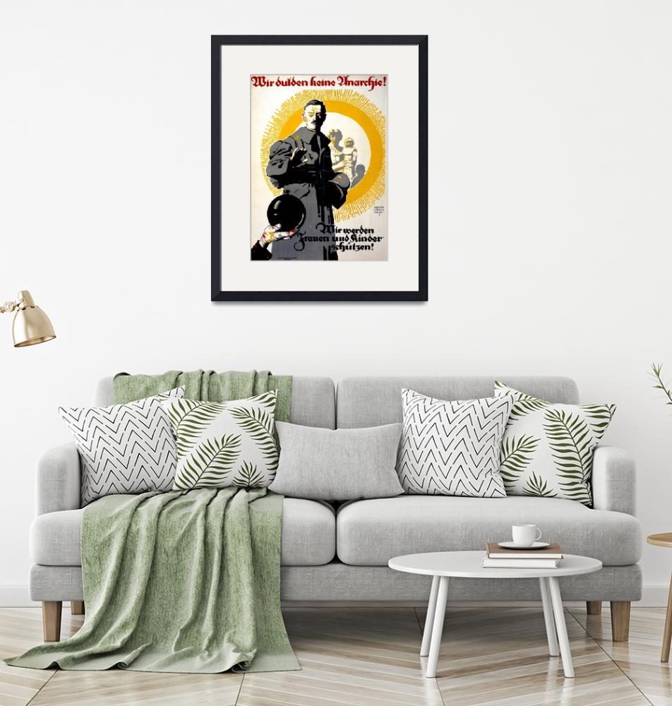 """""""German political poster shows a soldier standing i"""" by fineartmasters"""