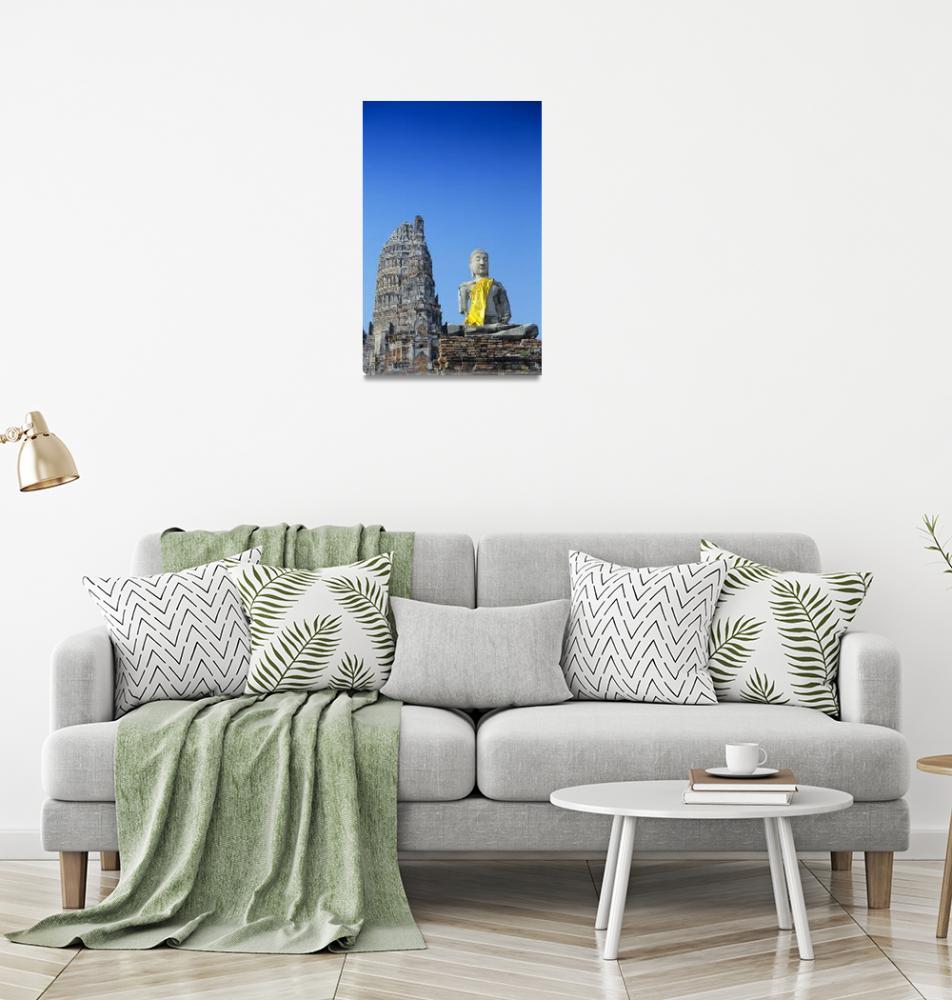 """Thailand, Ayuthaya, Wat Chai Wattanaram, Buddha St""  by DesignPics"