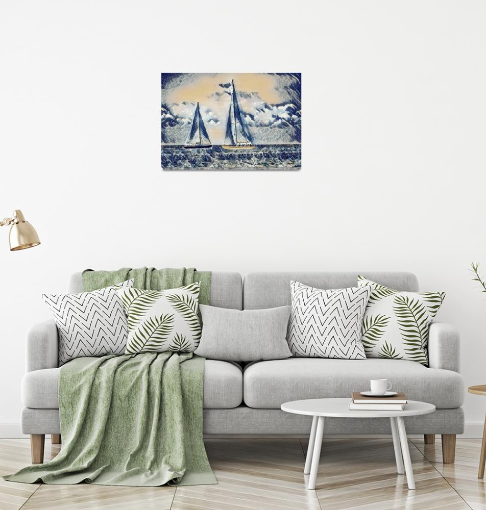 """""""Sailing - The Great Wave Inspiration""""  (2018) by rogueart"""