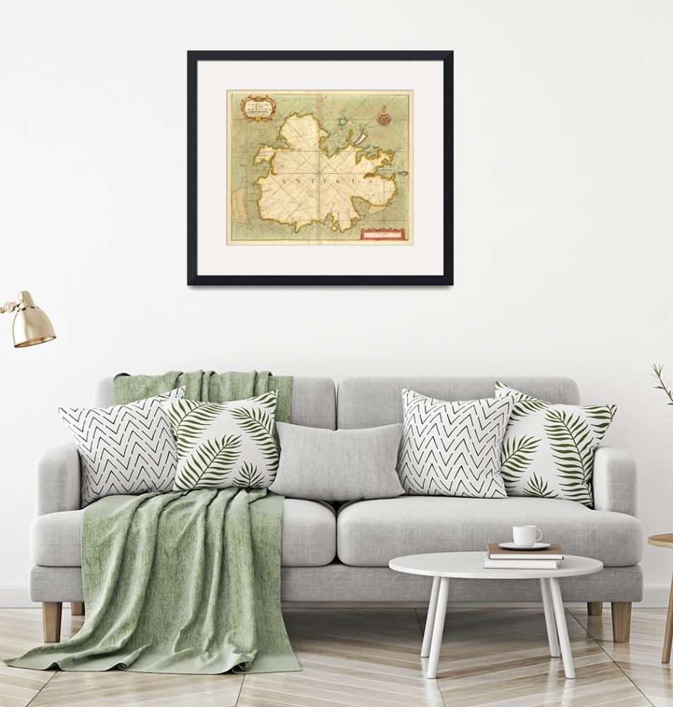 """Vintage Map of Antigua (1702)""  by Alleycatshirts"