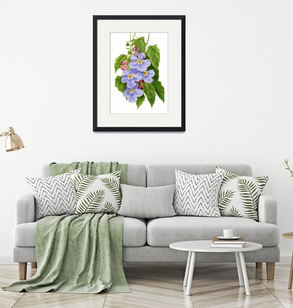 """""""blue sky vine flowers with leaves"""" (2016) by Pacific-NW-Watercolors"""