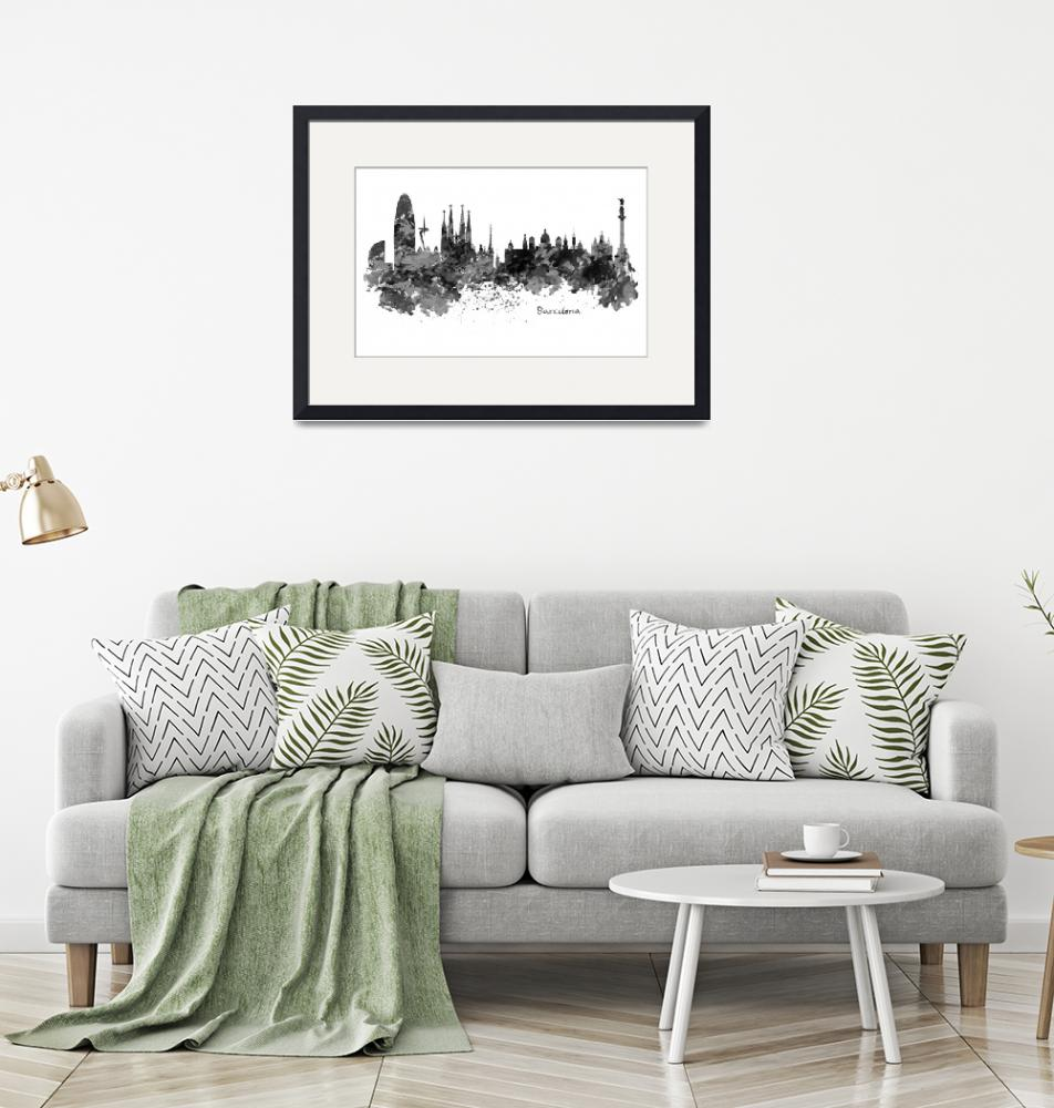 """Barcelona Black and White Watercolor Skyline""  (2016) by MarianVoicu"
