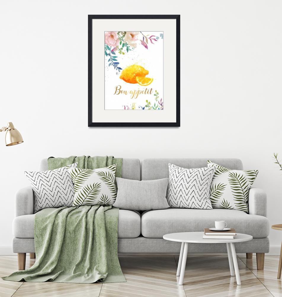"""Bon Appetit Lemon Floral Kitchen Wall art""  (2018) by Maggy"