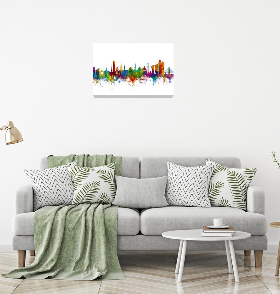 """Copenhagen Denmark Skyline""  (2017) by ModernArtPrints"
