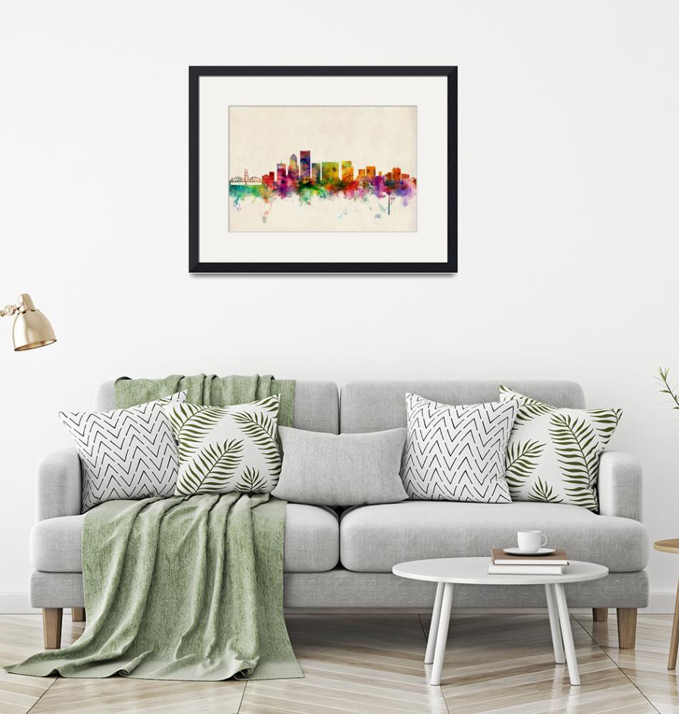 """Portland Oregon Skyline""  (2013) by ModernArtPrints"