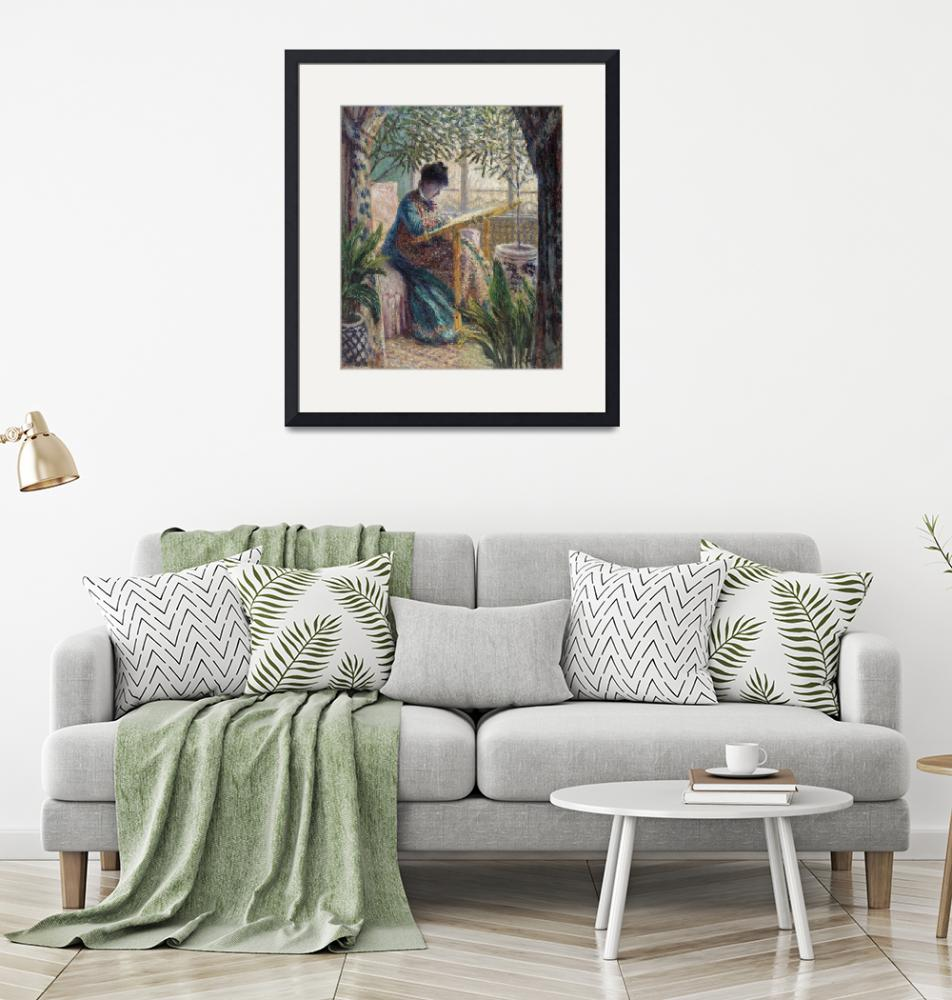 """""""Madame Monet Embroidering by Monet"""" by FineArtClassics"""