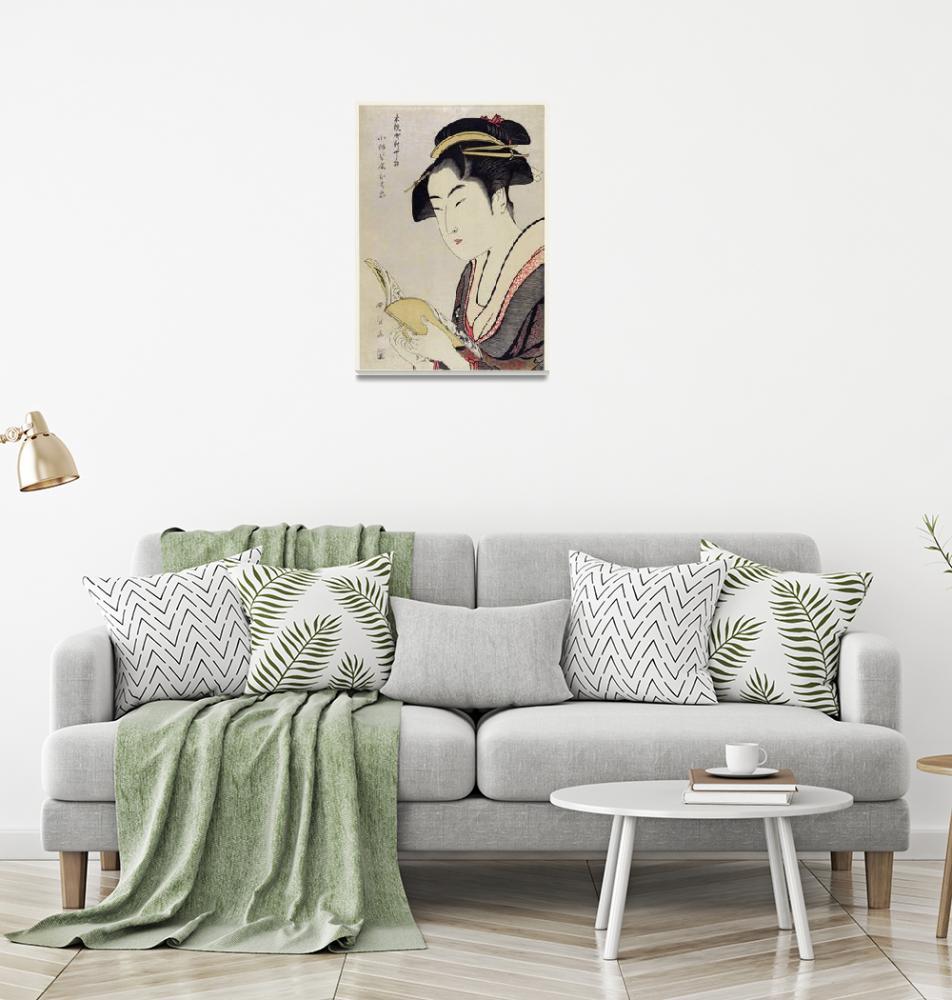 """Woman Reading a Book by Utamaro Kitagawa""  by FineArtClassics"