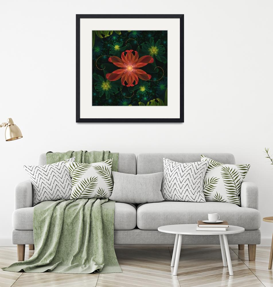 """""""Beautiful Red Passion Flower in a Fractal Jungle""""  (2017) by jaya-prime"""