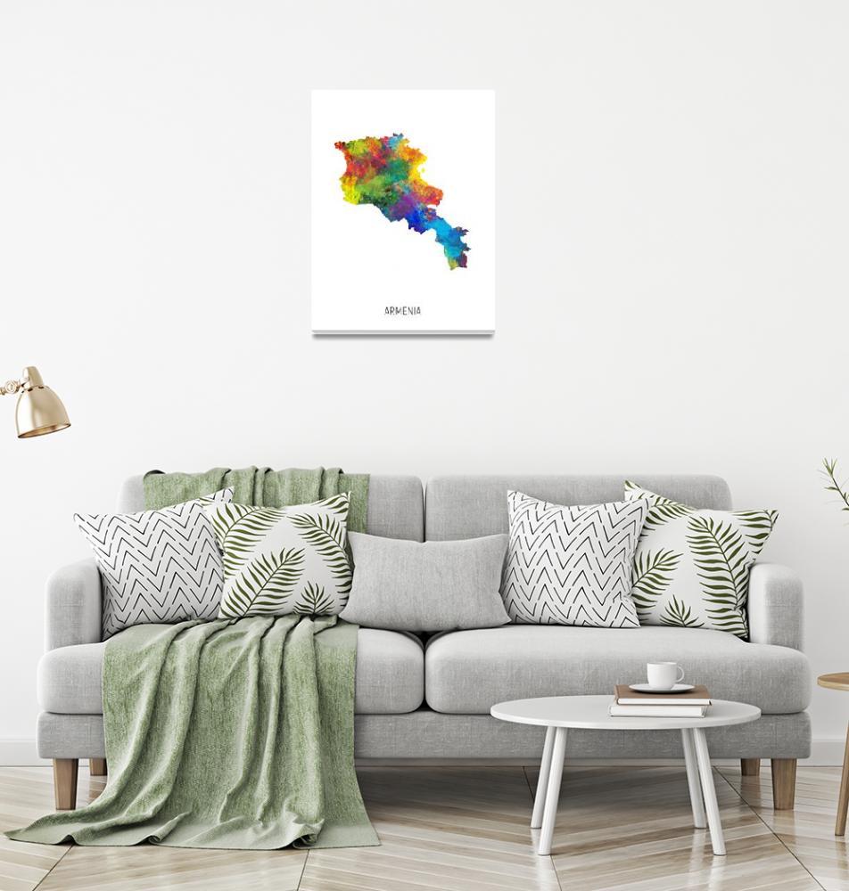 """Armenia Watercolor Map""  (2019) by ModernArtPrints"
