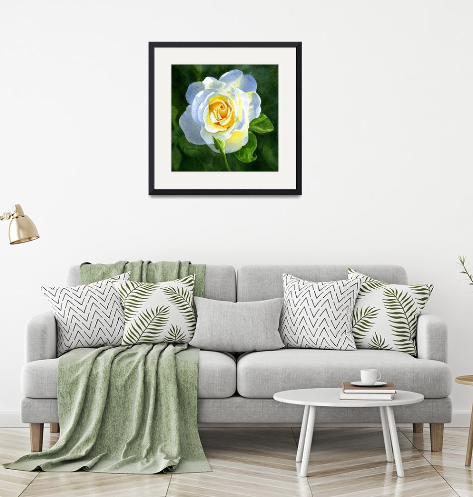 """""""White Rose with Bud""""  (2014) by Pacific-NW-Watercolors"""