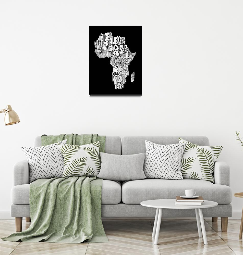 """Typography Text Map of Africa Map""  (2012) by ModernArtPrints"