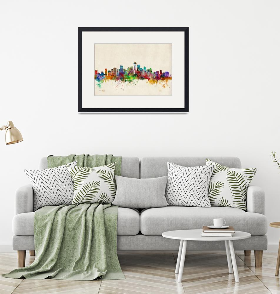 """Seattle Washington Skyline""  (2013) by ModernArtPrints"