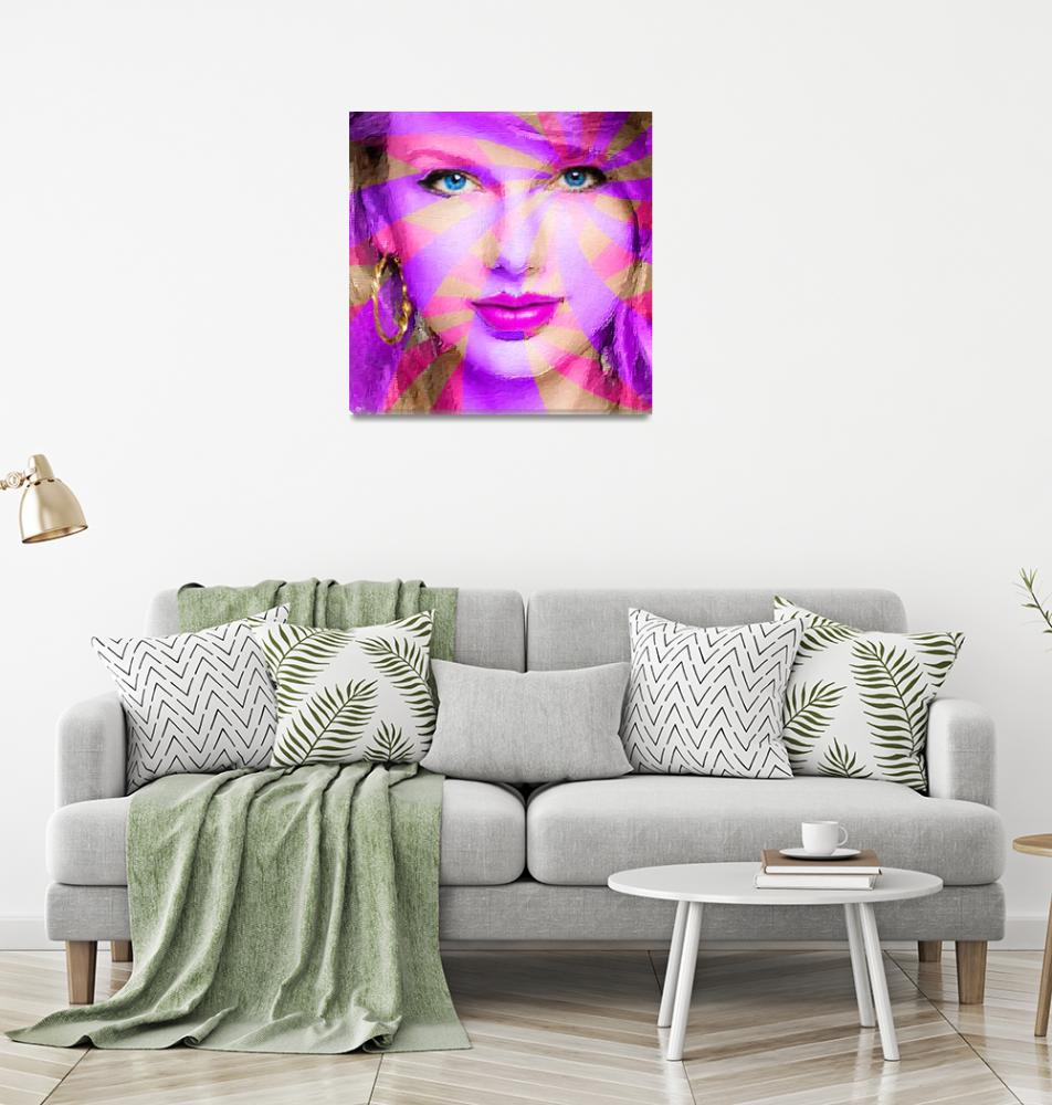 """""""Taylor Swift Pink Square""""  (2015) by RubinoFineArt"""