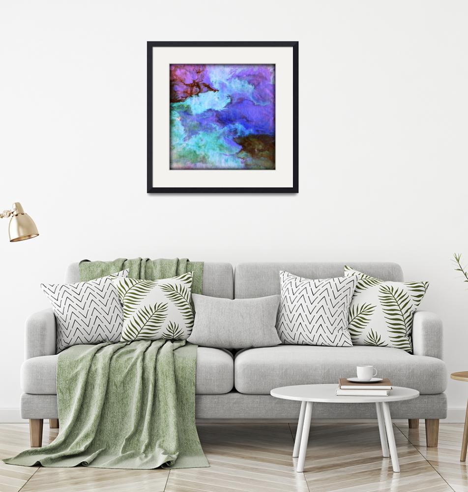 """""""Fluid abstract in blue and purple"""" (2014) by LizMoran"""