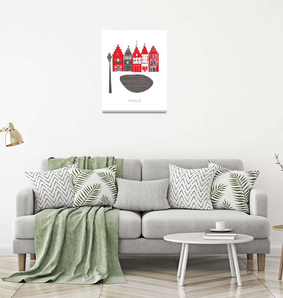 """Brugge Modern Cityscape Illustration""  by AlbieDesigns"
