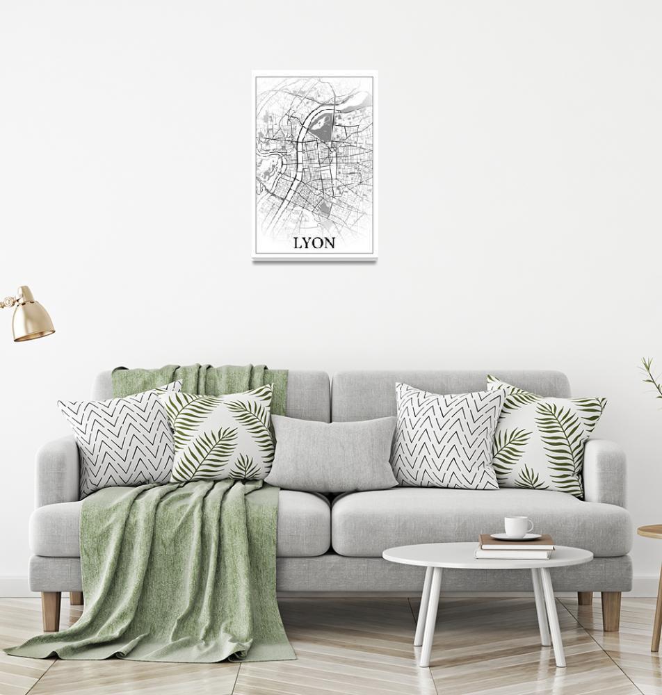 """Lyon, Rhône, France, city map print.""  by dandistudio"