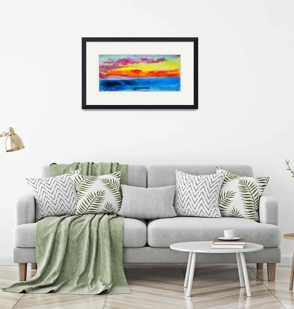 """""""C2 Abstract Expressive Sunrise Watercolor Painting""""  (2016) by Ricardos"""