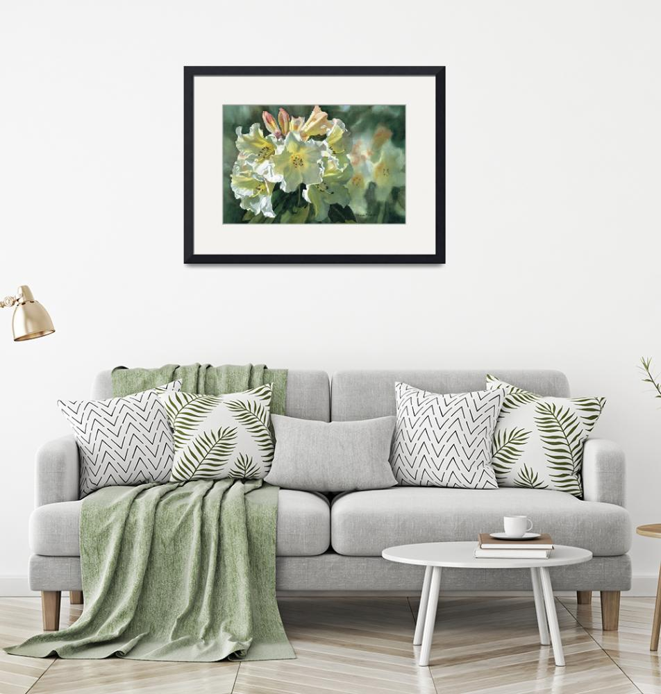 """""""Yellow Rhododendron""""  (2005) by Pacific-NW-Watercolors"""