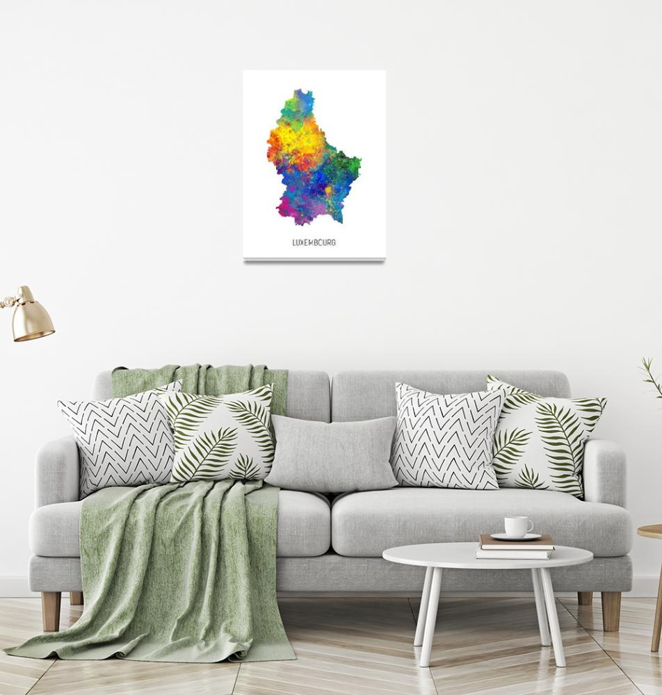 """""""Luxembourg Watercolor Map""""  (2019) by ModernArtPrints"""