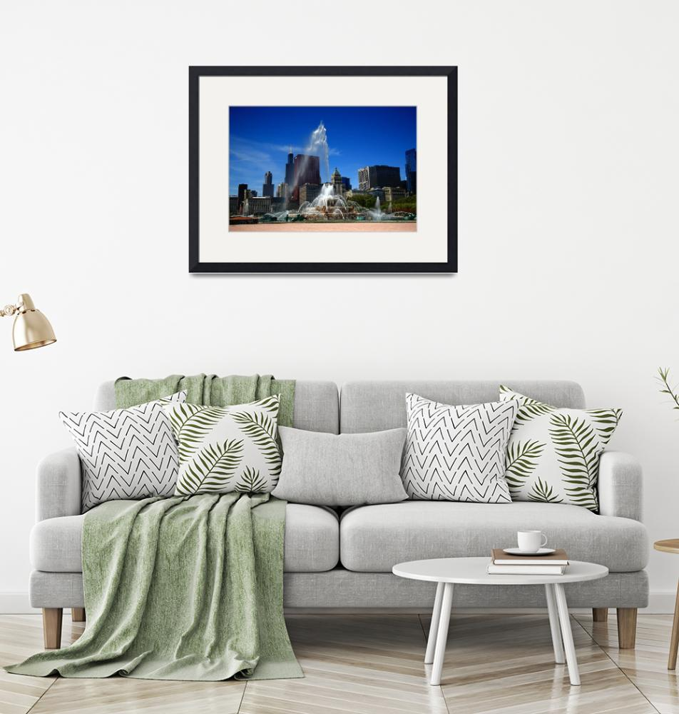 """Chicago Skyline and Buckingham Fountain 2010""  (2010) by Ffooter"