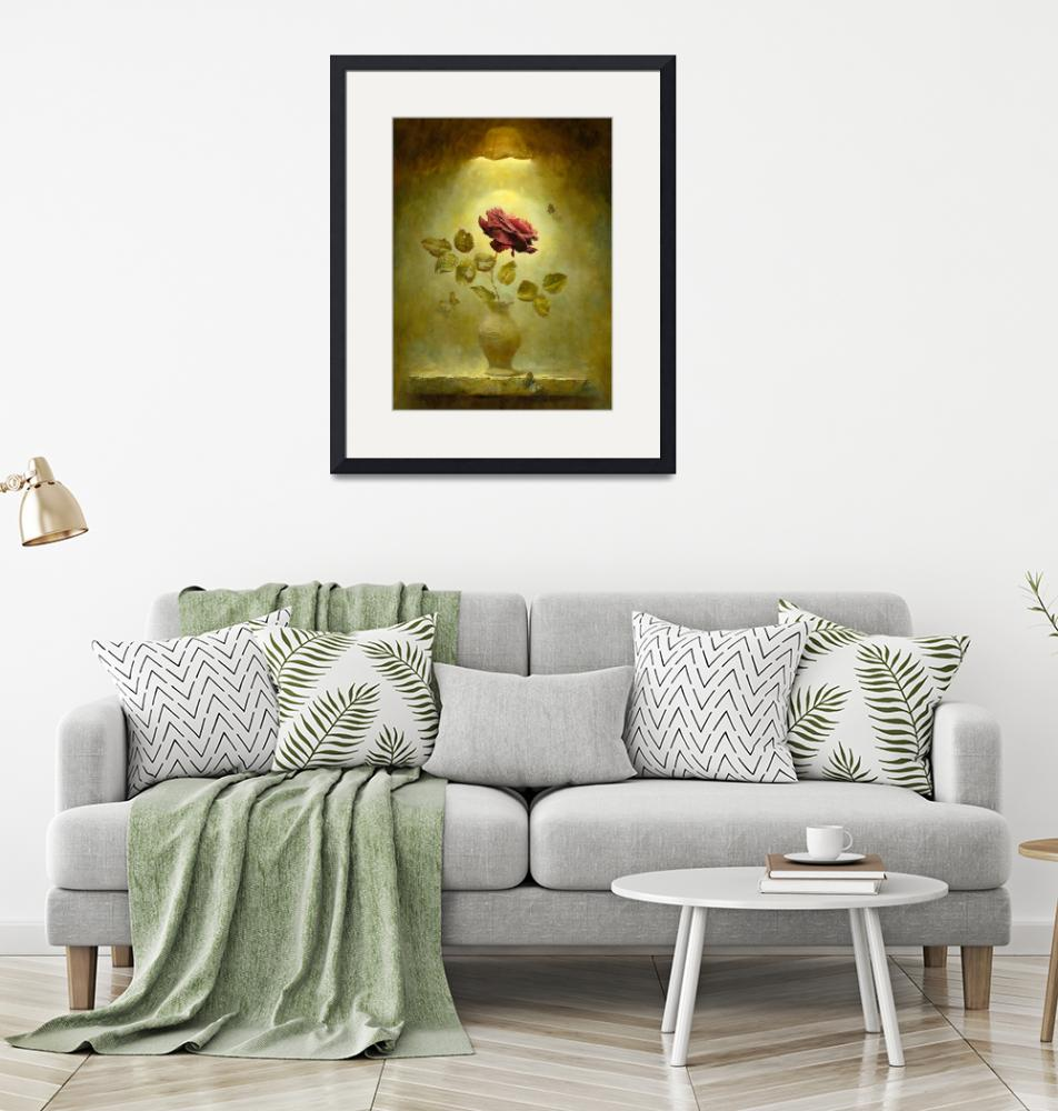 """""""Dark Bordeau red rose in by gold the light"""" (2009) by Antonov"""