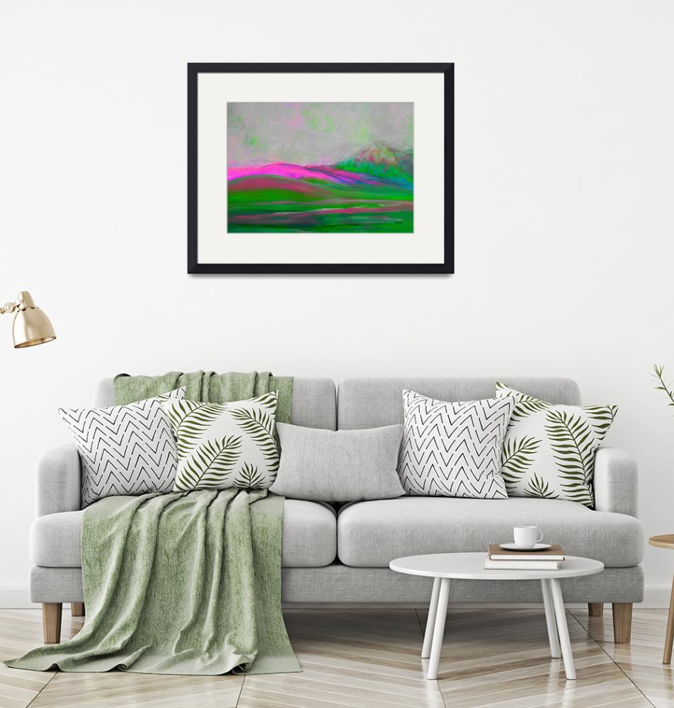 """""""Clouds Rolling In Abstract Landscape Pink""""  by EloiseArt"""