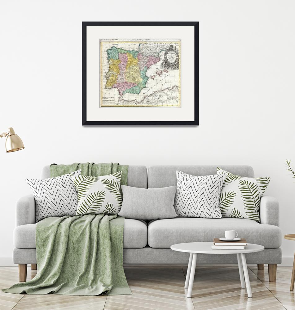 """Map of Spain and Portugal by Johann Homann""  by FineArtClassics"