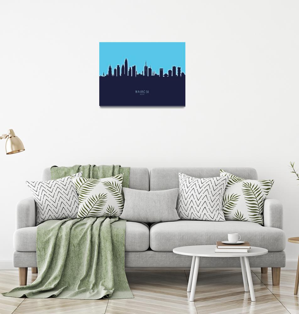 """Nairobi Kenya Skyline""  (2020) by ModernArtPrints"