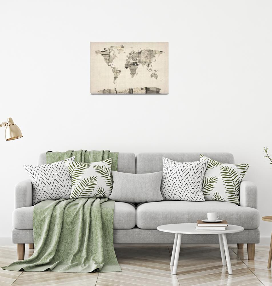 """""""Map of the World Map from Old Postcards""""  (2012) by ModernArtPrints"""