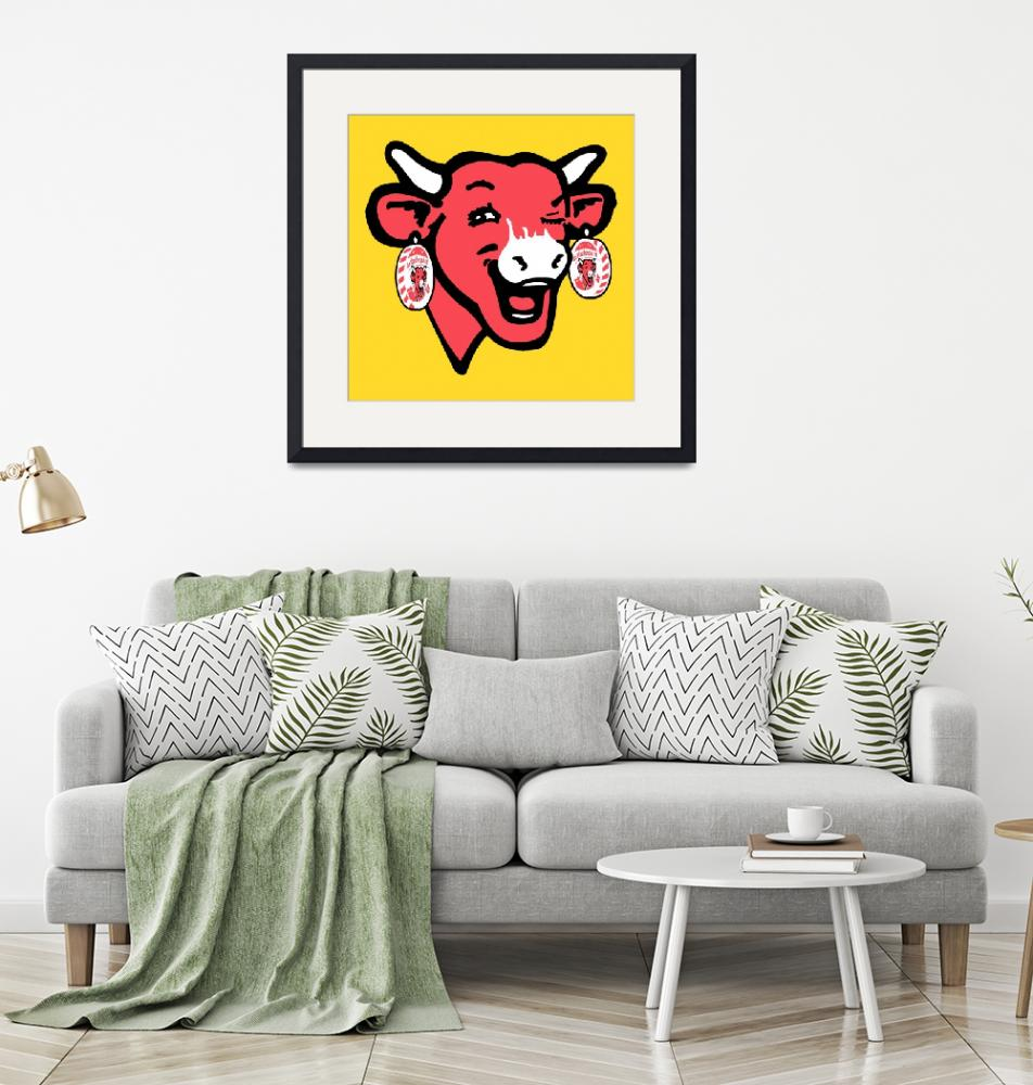 """""""The Laughing Cow Pop 1 - Pink on Yellow""""  (2015) by peterpotamus"""