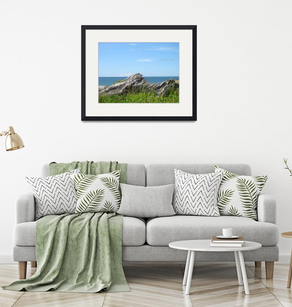 """Driftwood Ocean Coastal Art prints Seascape Landsc""  (2014) by BasleeTroutman"