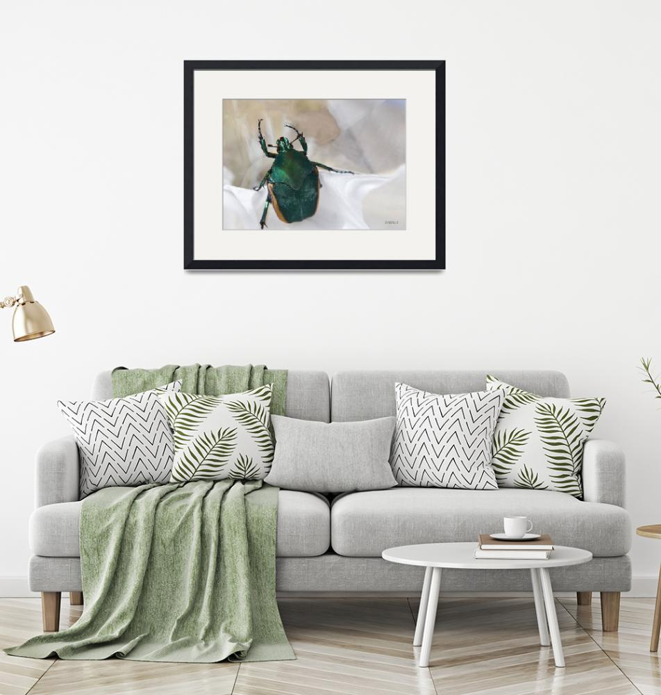 """""""Green Beetle with Reflection Issues""""  (2012) by theblueplanet"""