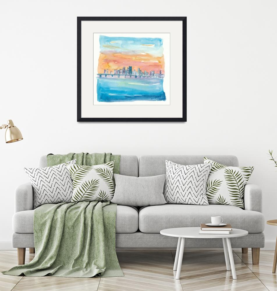 """""""Miami Florida Watercolor Skyline and Causeway""""  (2020) by arthop77"""