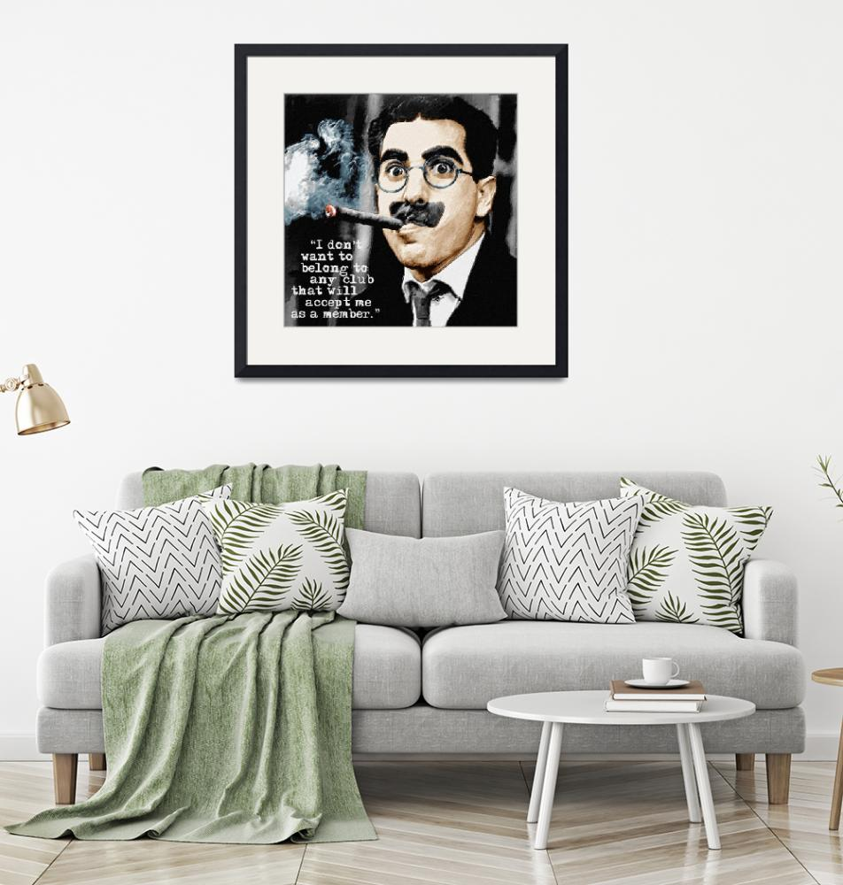 """""""Groucho Marx And Quote Square""""  by RubinoFineArt"""