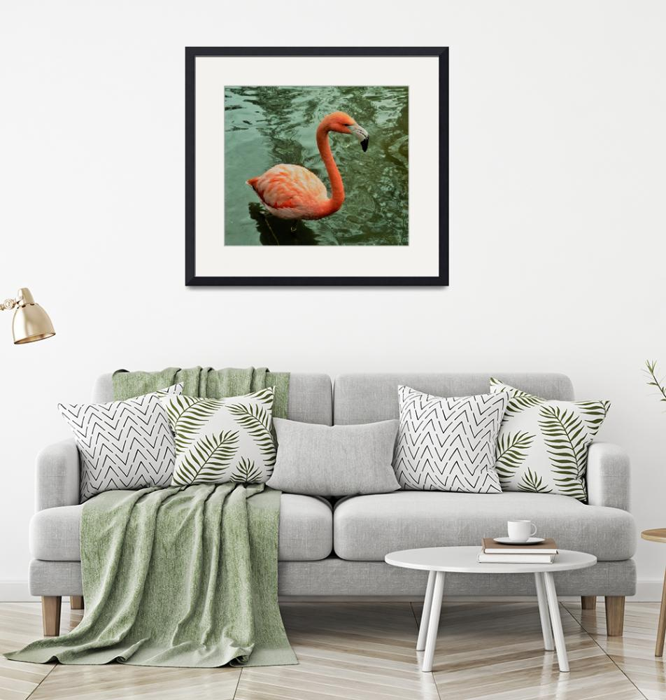 """""""Pink Flamingo in Water 1 Neo""""  by ClayConrad"""