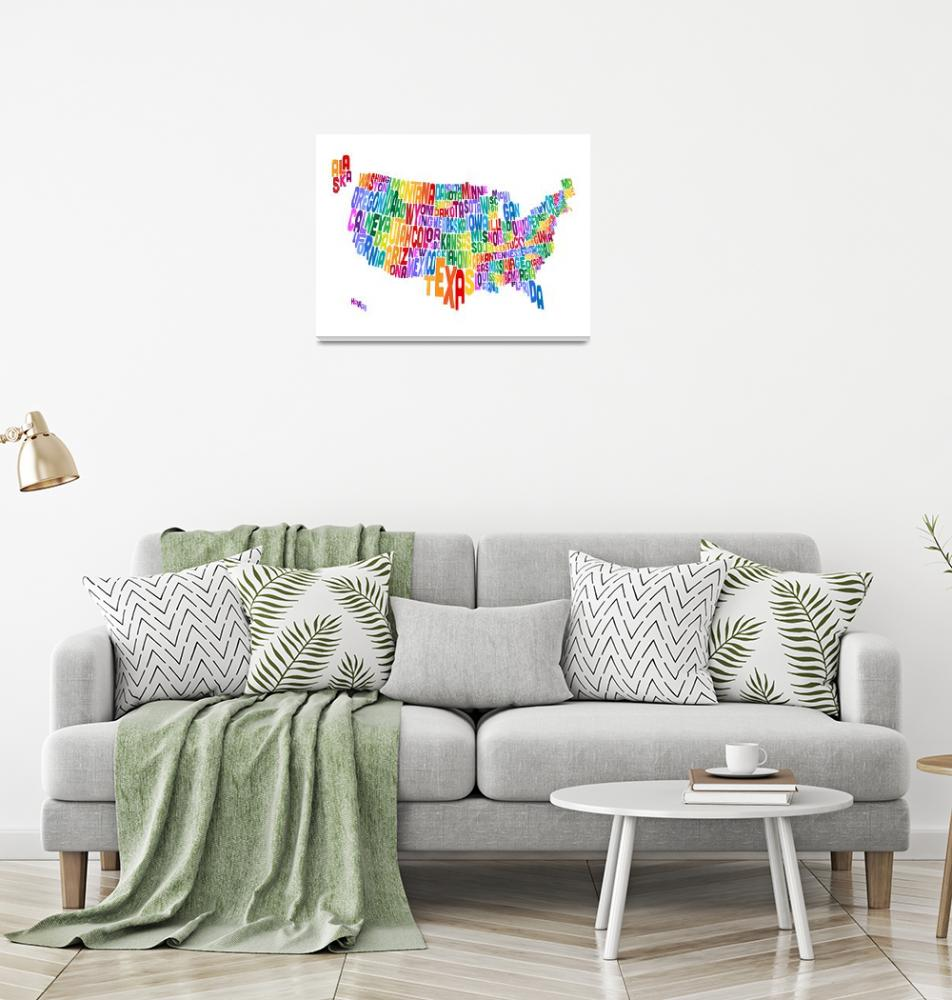 """""""United States Typography Text Map""""  by ModernArtPrints"""