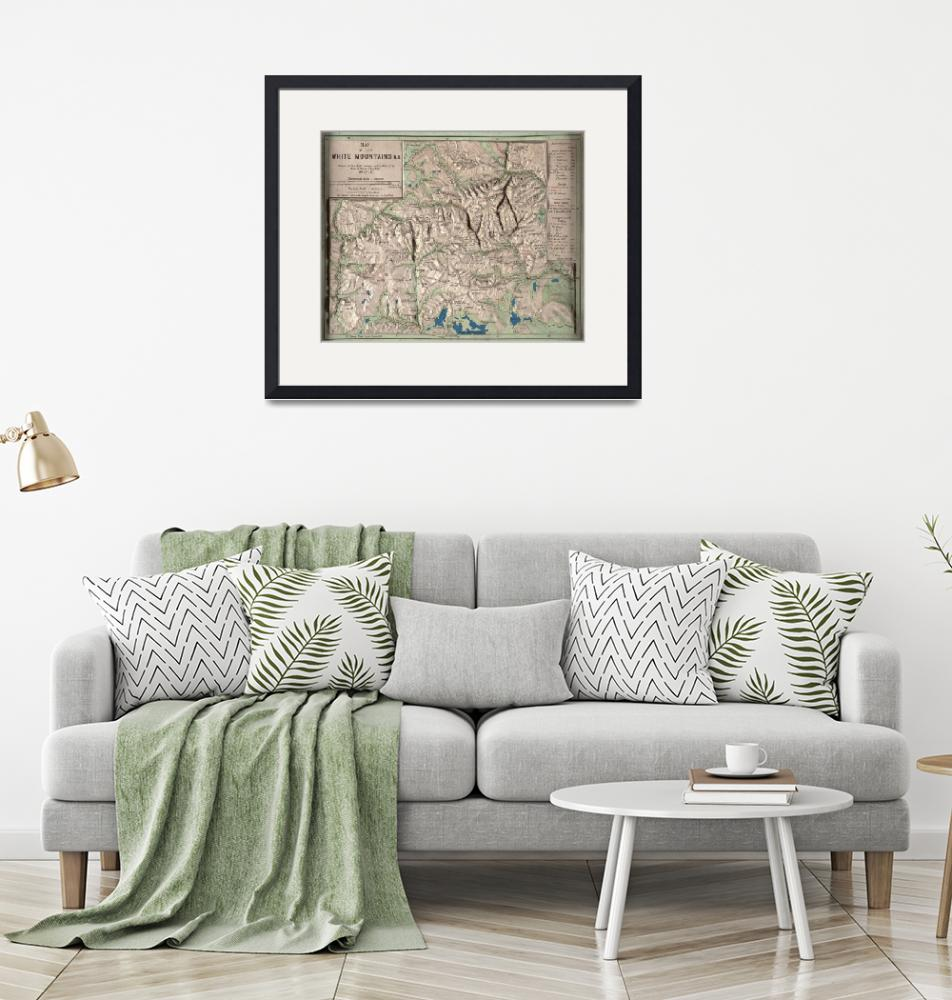 """""""Vintage White Mountains Physical Map (1872)"""" by Alleycatshirts"""