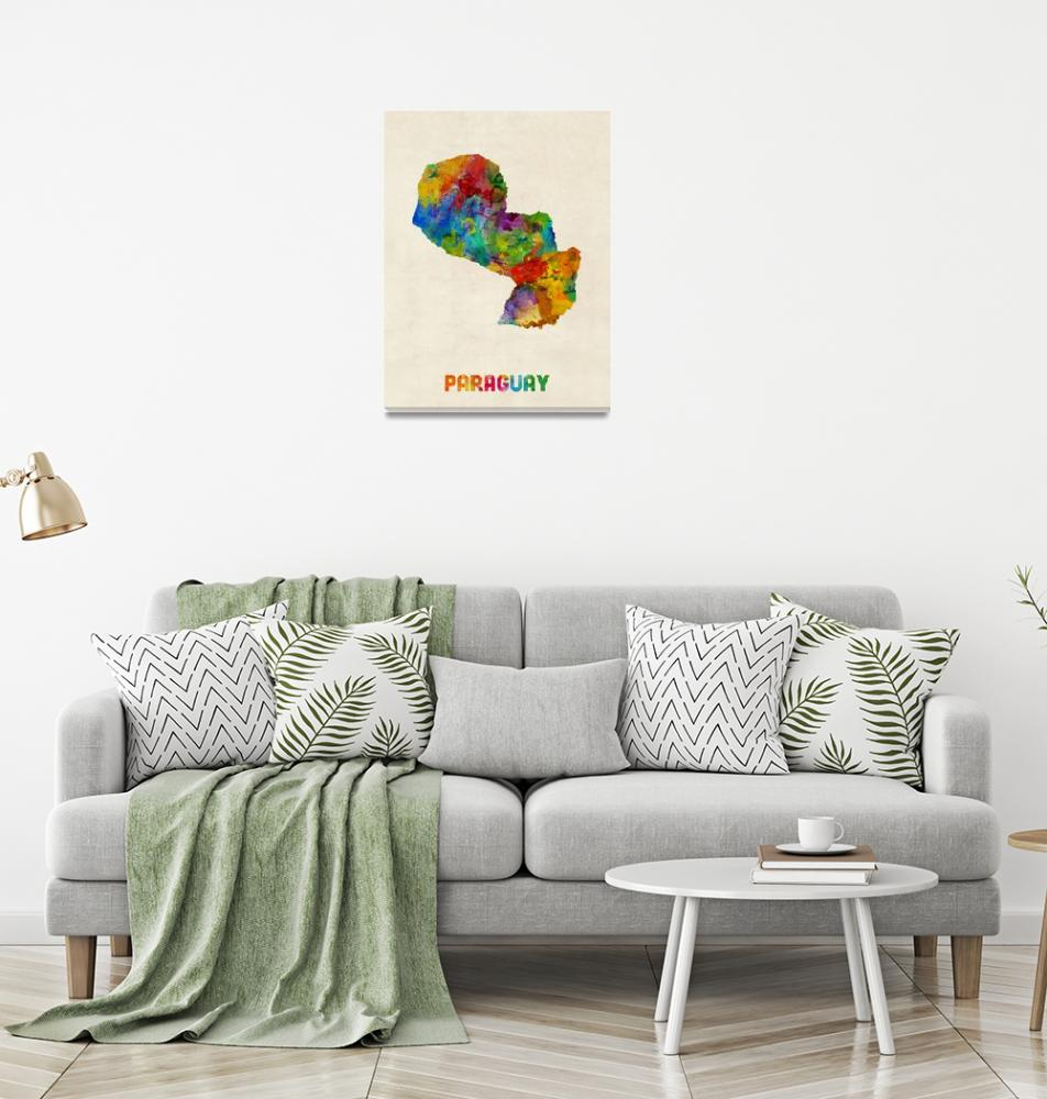 """Paraguay Watercolor Map""  (2014) by ModernArtPrints"