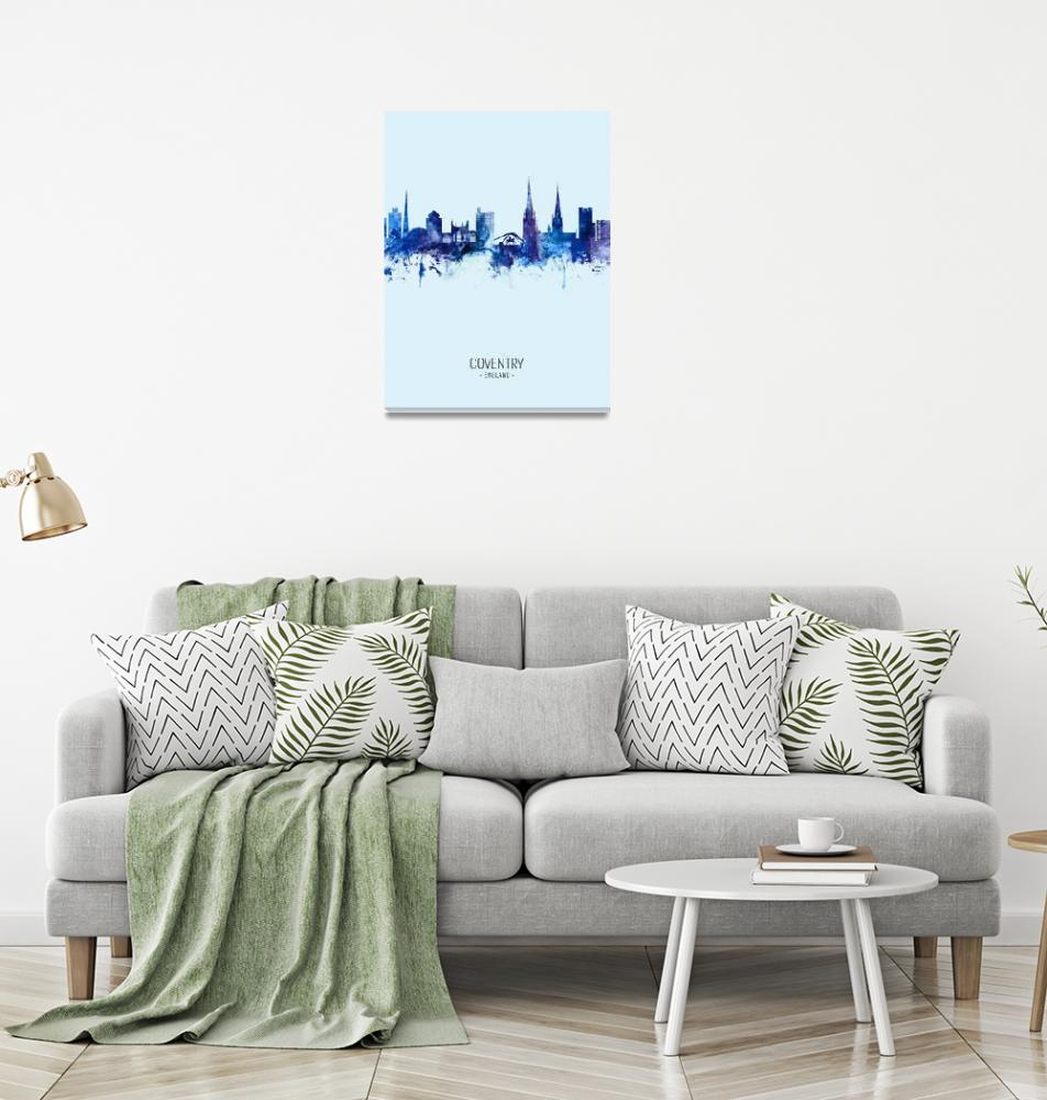 """Coventry England Skyline""  (2019) by ModernArtPrints"
