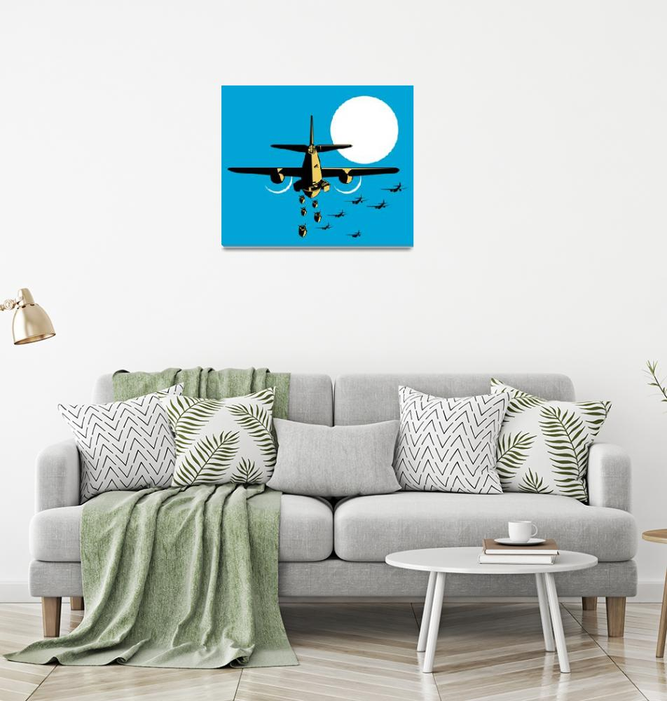 """World War Two Bomber Airplanes Drop Bomb Retro""  (2012) by patrimonio"
